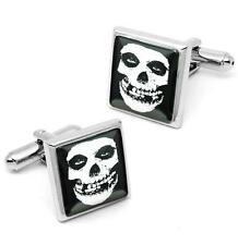 Misfits Crimson Skull Sterling Silver Glass Horror Punk Cufflink Set w/ Box