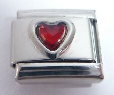 DARK RED HEART GEM Italian Charm - January Birthstone Love 9mm Classic Size GEMS