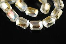 10pcs Lt Citrine Glass Crystal Rectangle Beads 18x12mm Spacer Jewelry Findings