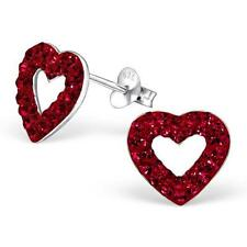 Sterling Silver Heart Stud Earrings With Austrian Crystals - Red - Gift Boxed