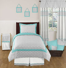 ZIGZAG TURQUOISE GREY WHITE GIRL BOY TEEN TWIN SIZE KID CHEVRON JOJO BEDDING SET