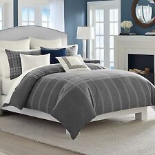 3-Pc Nautica Haverdale Gray KING Comforter Set Heather Grey White Plaid Modern
