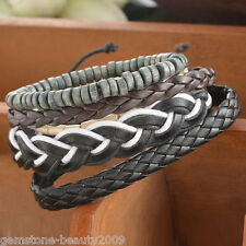 1Set Braided Adjustable Leather Bracelet Punk Cuff Women/Men`s Gift Fashion