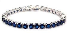 Sterling Silver Blue Sapphire 8.25ct Tennis Bracelet (925)