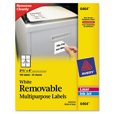Avery  Removable Inkjet/Laser ID Labels, 3-1/3 x 4, White, 150/Pack - AVE6464