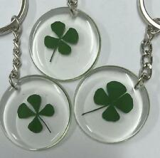 12pc lots roundness Four Leaf Clover style stainless steel key-chains FF03