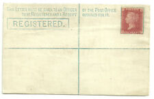 QUEEN VICTORIA 2D UNUSED REGISTERED ENVELOPE 1D ROSE RED PLATE 174 ATTATCHED RP6