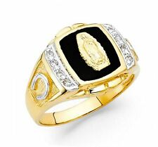 Men's 14k Solid Yellow Gold Virgin Mary Guadalupe Ring with Onyx & diamonds