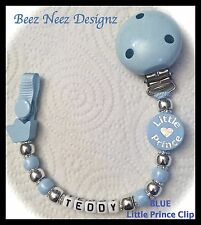 ♕ PERSONALISED Your Name Choice ♕ LITTLE PRINCE - Blue  ♕ Dummy Clip ♕