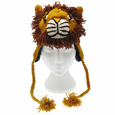 Fun Lion Handmade Winter Woollen Animal Hat Fleece Lining One Size, UNISEX