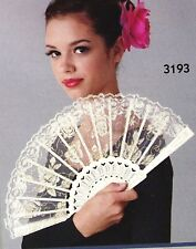 New White Gold Lace Fan Plastic Base Theatrcial Dance Item