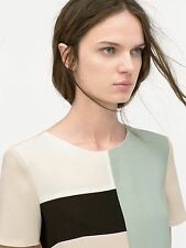 ZARA women's L nude color block top with short sleeves NWT