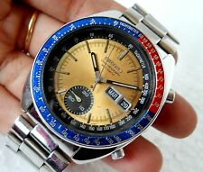 SEIKO CHRONOGRAPH AUTOMATIC 6139-6012 PEPSI BEZEL JUMBO GOLDEN DIAL MEN'S WATCH