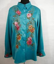 Victor Costa Occasion L Turquoise Blouse Roses Button Down Embroidered Beading