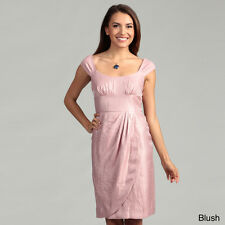 London Times Cap Sleeve Shimmer Wrap Skirt Dress-Pink Blush-Size: 12