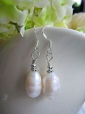 FRESHWATER PEARL Earrings RICE PLUMP WHITE  NATURAL Sterling Silver 925 dangle