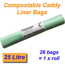 26 x 25 Litre Compostable Food Waste Caddy Liner Bags Biodegradeable