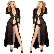 Sexy Lingerie PVC FAUX LEATHER Black Clubwear Evening Long Dress 132
