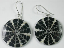 STERLING SILVER Black & White Shell Earrings
