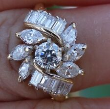 1/3ct Center 1.33ct total diamond floral engagement right-hand ring 14k YG