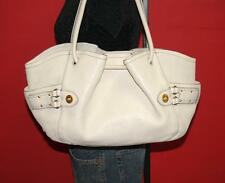 COLE HAAN LARGE White Pebbled Leather Satchel Slouch Tote Purse Shoulder Bag