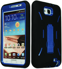 Blue Hard Kickstand Hybrid Case / Black Silicone Cover for Samsung Galaxy Note 1