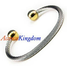 ACCENTS KINGDOM MAGNETIC STAINLESS STEEL CABLE GOLD BALL GOLF BRACELET
