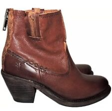 New FRYE Women's Leslie Artisan Brown Leather Ankle Boots Size 7B