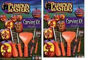 HALLOWEEN PUMPKIN MASTERS CARVING KIT LOT 2 KITS @ 5 TOOLS 12 PATTERNS BOOK X 2