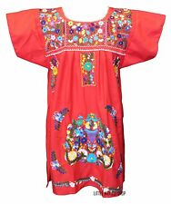 Mexican Dress KNEE LENGTH Embroidered Fiesta BLOUSON All Colors S M L XL 2XL
