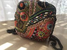 MARY FRANCES Multi Colored BEADED  EMBELLISHED SHOULDER BAG