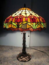 MEYDA # E103910 TIFFANY 2 LIGHT MAHOGANY BRONZE COLONIAL TULIP TABLE LAMP #109