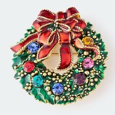 CHRISTMAS HOLIDAY WREATH WITH JEWEL COLORED RHINESTONES RED BOW BROOCH PENDANT