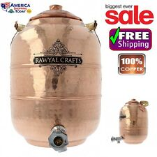 Copper 6.5 Ltr Water Pot Dispenser Storage Tank Handcrafted Tap Faucet w/Handle