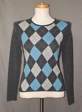 Fiona Women's Small Sweater 100% Cashmere Gray Aqua Argyle