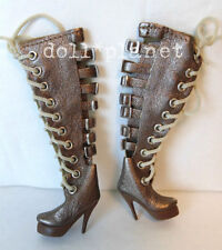BRONZE DOLL BOOTS fits Dynamite Girls High Heels Sexy Lace-Ups & Buckles