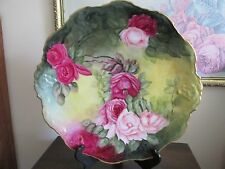 """Antique Coiffe Limoges France Handpainted 13"""" Platter Charger Plate Signed Roses"""