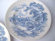 ANTIQUE PLATES, 2 BLUE & WHITE ENOCH, WEDGWOOD & CO COUNTRYSIDE PATTERN ENGLAND