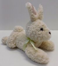 Gymboree Cream Ivory Bunny Rabbit Green Bow Pink Satin Ears  Plush Stuffed Toy