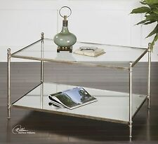 FORGED AGED SILVER LEAF IRON BASE MIRROR SHELF GLASS TOP COCKTAIL COFFEE TABLE