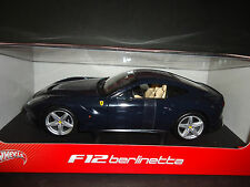 Hot Wheels Ferrari F12 Berlinetta Blue 1/18 Opened box