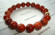 FENG SHUI - 10MM RED JASPER MALA BRACELET WITH GOLD BEAD