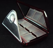 TagMaster Travel Pill Box w/Mirror, 8 Compartments, Hard Shell Red Case