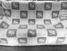 VTG Wedding White Embroidered Cotton Lace Crochet Tablecloth 68x84 bedspread