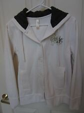 """OURAY Sportswear EMBROIDERED """"CRESTED BUTTE"""" White Hooded Jacket ~ Medium ~ EUC"""