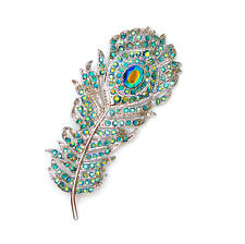 Peacock Feather Pin Brooch Emerald Color AB Rhinestone Crystal