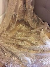 3 MTR GOLD SCALLOPED EMBROIDED SEQUENCE CRYSTAL BRIDAL LACE NET FABRIC £26.99