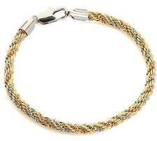 Charm 3-Strings 18k Tri-color Gold Filled GF Womens Twisted Snake Bracelet Chain