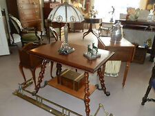 ANTIQUE MERKLEN BROTHERS LIBRARY TABLE WITH CARVED APRON & LION HEAD FEET