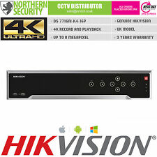 HIKVISION DS-7716NI-K4/16P 4K UHD 16 CHANNEL NVR POE 8MP FULL HD VIDEO RECORDER